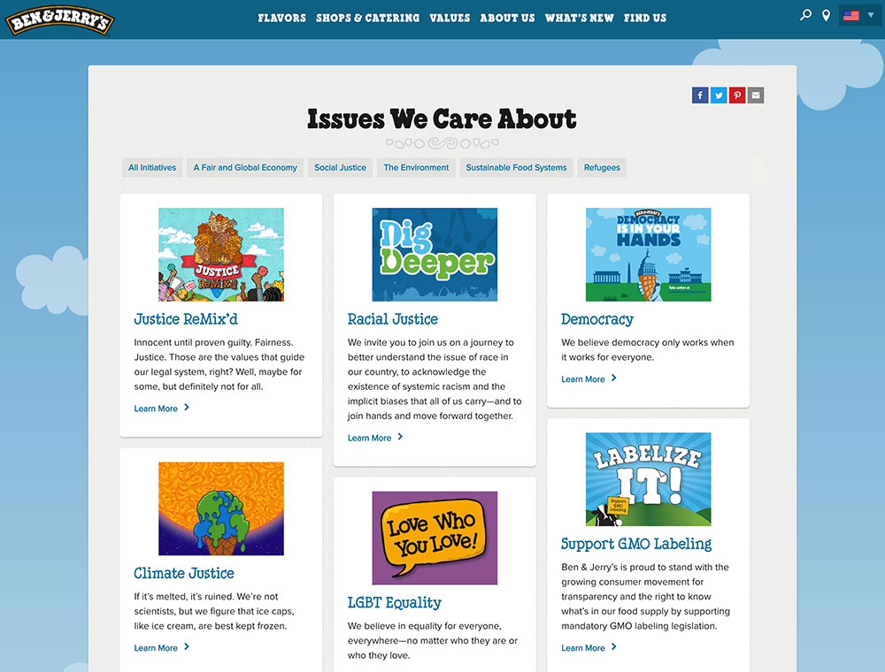 Page from Ben & Jerry's website focusing on the social issues it is invovled with