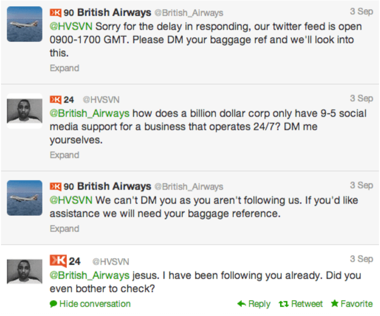 Negative interaction between British Airways and a customer on social media