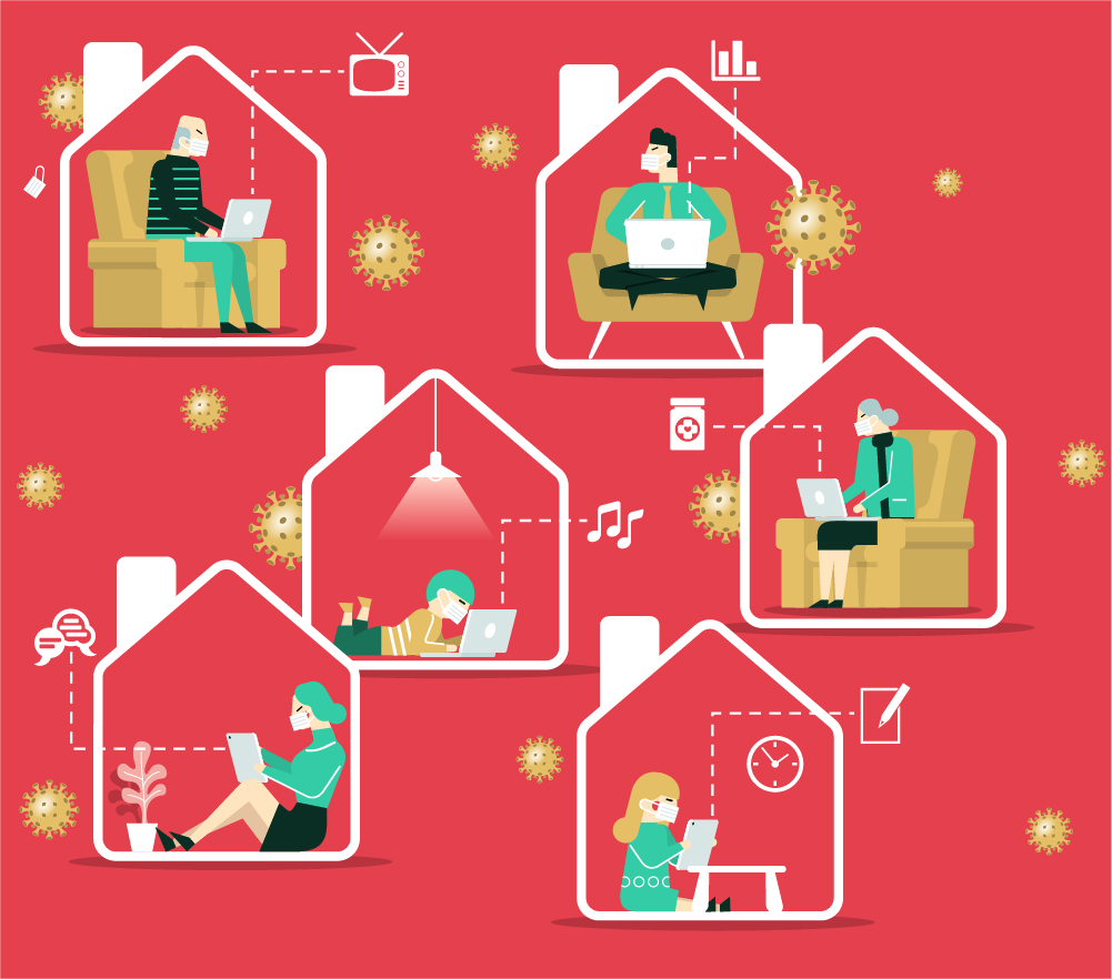 Series of illustrations of people working and playing online at home