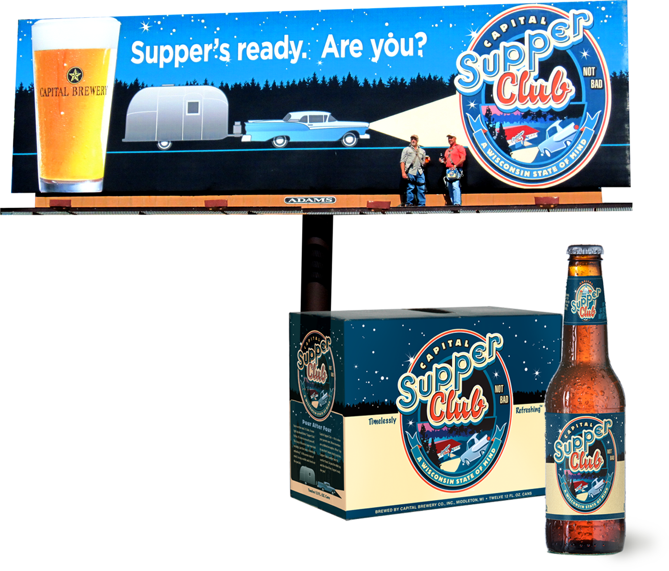Capital Brewery billboard, Supper Club 12-pack and single bottle