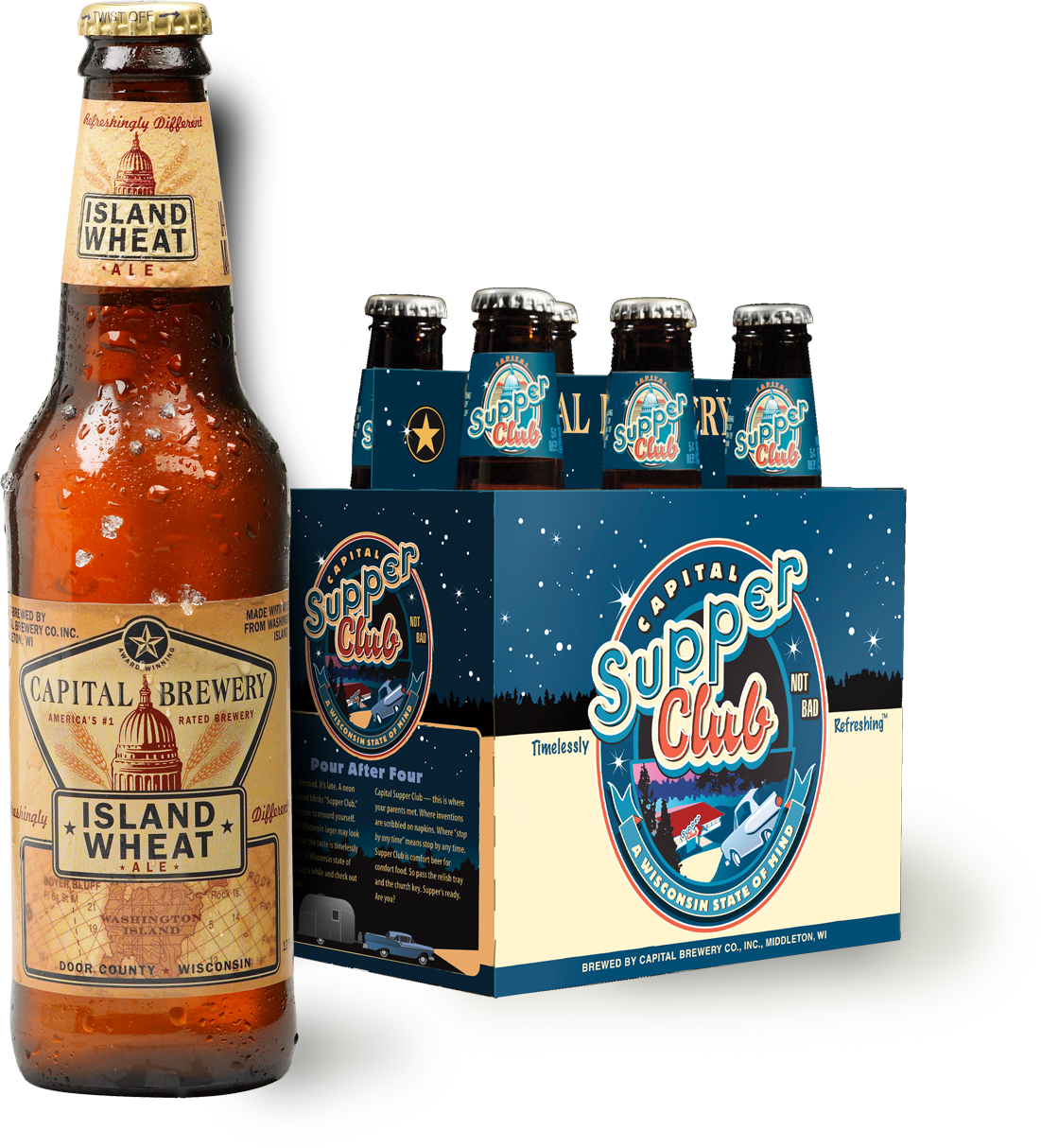Capital Brewery Supper Club six-pack and Island Wheat bottle