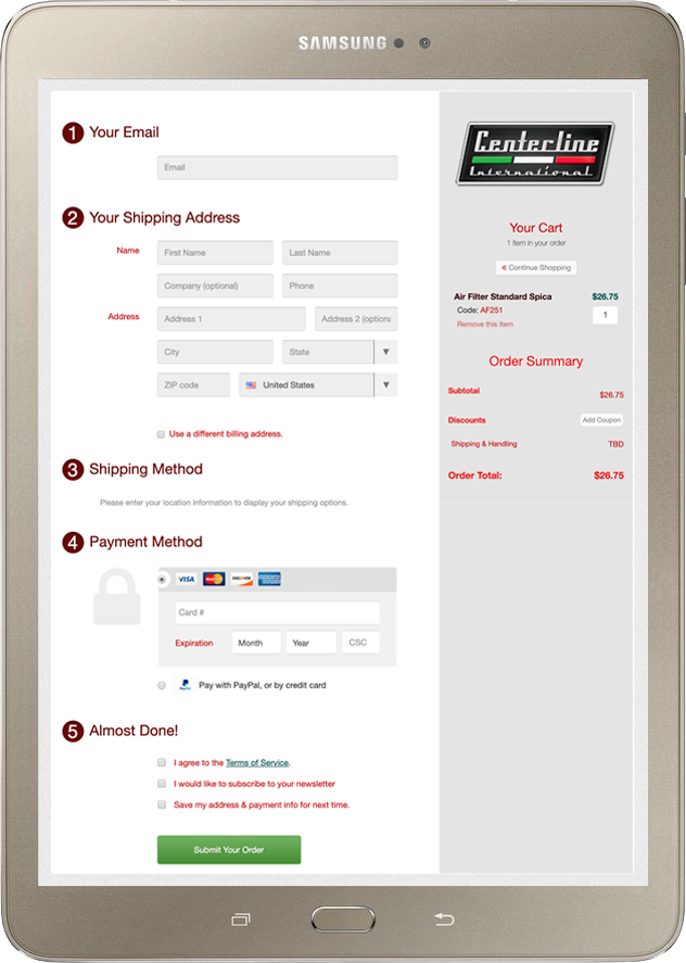 Tablet screen showing Centerline website checkout page