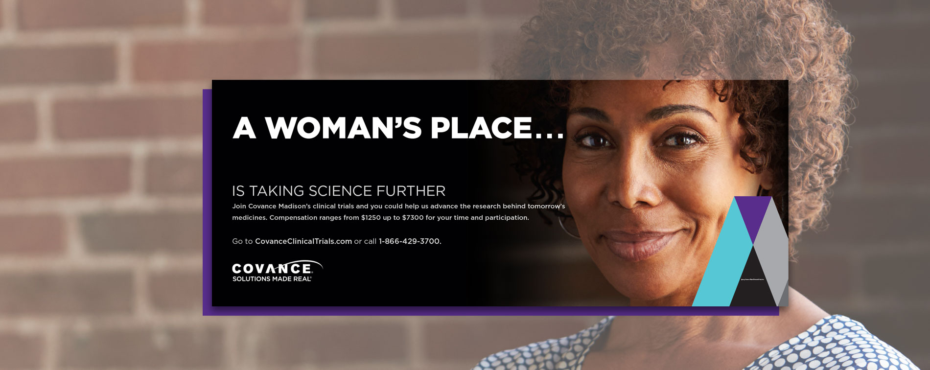 Covance bus ad: A woman's place is taking science further