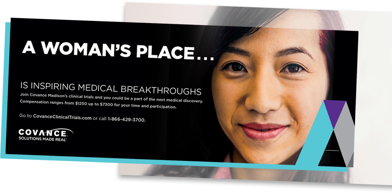 Covance bus ad: A woman's place is inspiring medical breakthroughs
