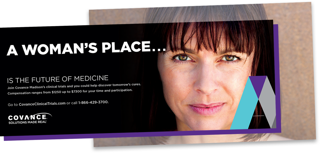Covance bus ad: A woman's place is the future of medicine