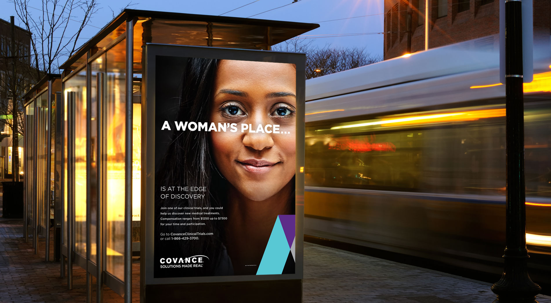 Covance bus shelter ad: A woman's place is at the edge of discovery