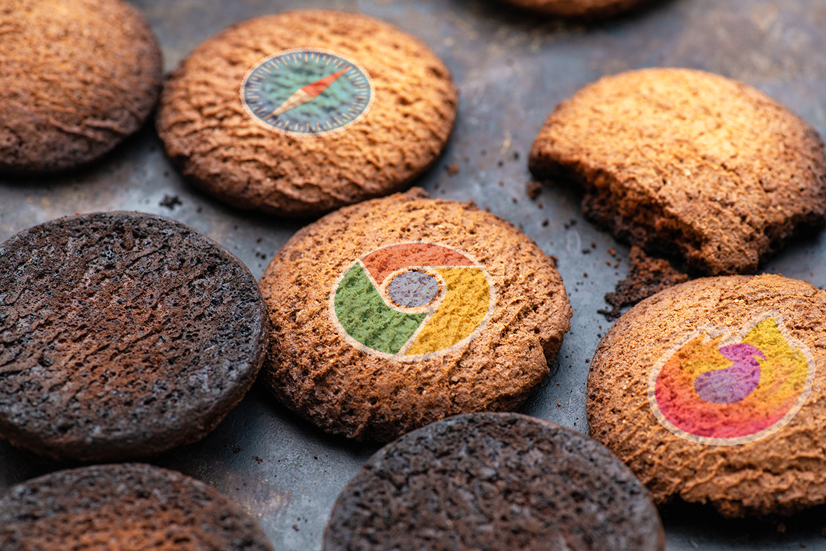 Burned cookies imprinted with the logos of the major web browsers