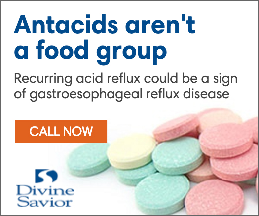 Divine Savior digital ad: a bunch of antacid tablets with the words antacids aren't a food group