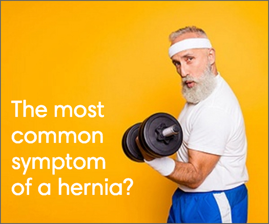 Divine Savior digital ad: older man doing a bicep curl with the words The most common symptom of a hernia?