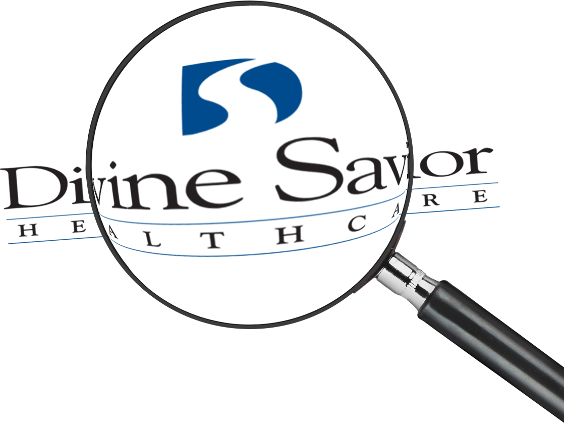 Magnifying glass focused on the Divine Savior logo