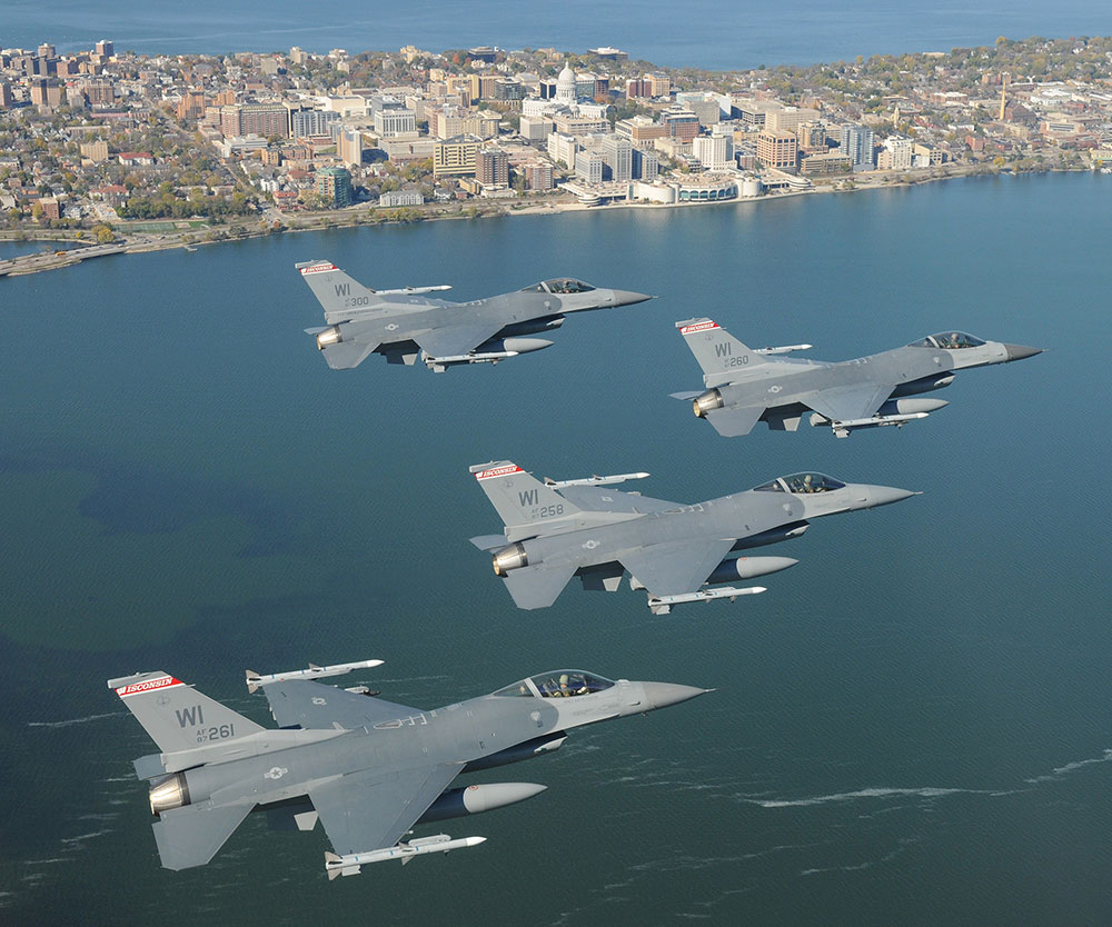 Three fighter jets flying over the Isthmus in Madison, Wisconsin