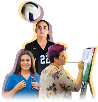 three female students: nurse, volleyball player and artist