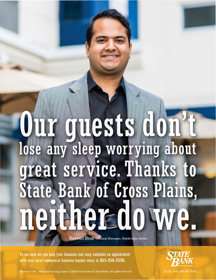 State Bank of Cross Plains magazine ad: Our guests don't lose any sleep worrying about great service. Thanks to State Bank of Cross Plains, neither do we