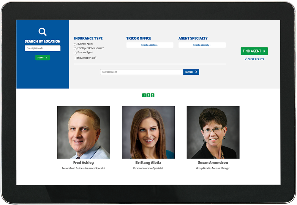 several agents as they are shown on tricor-insurance.com