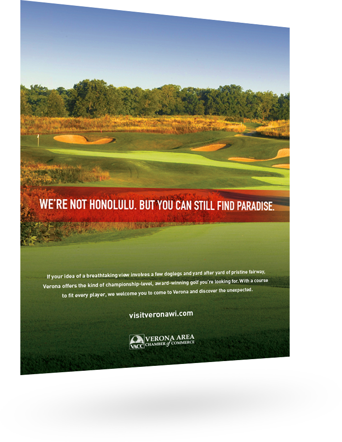 City of Verona ad featuring a golf course: We're not Honlulu. But you can still find paradise.