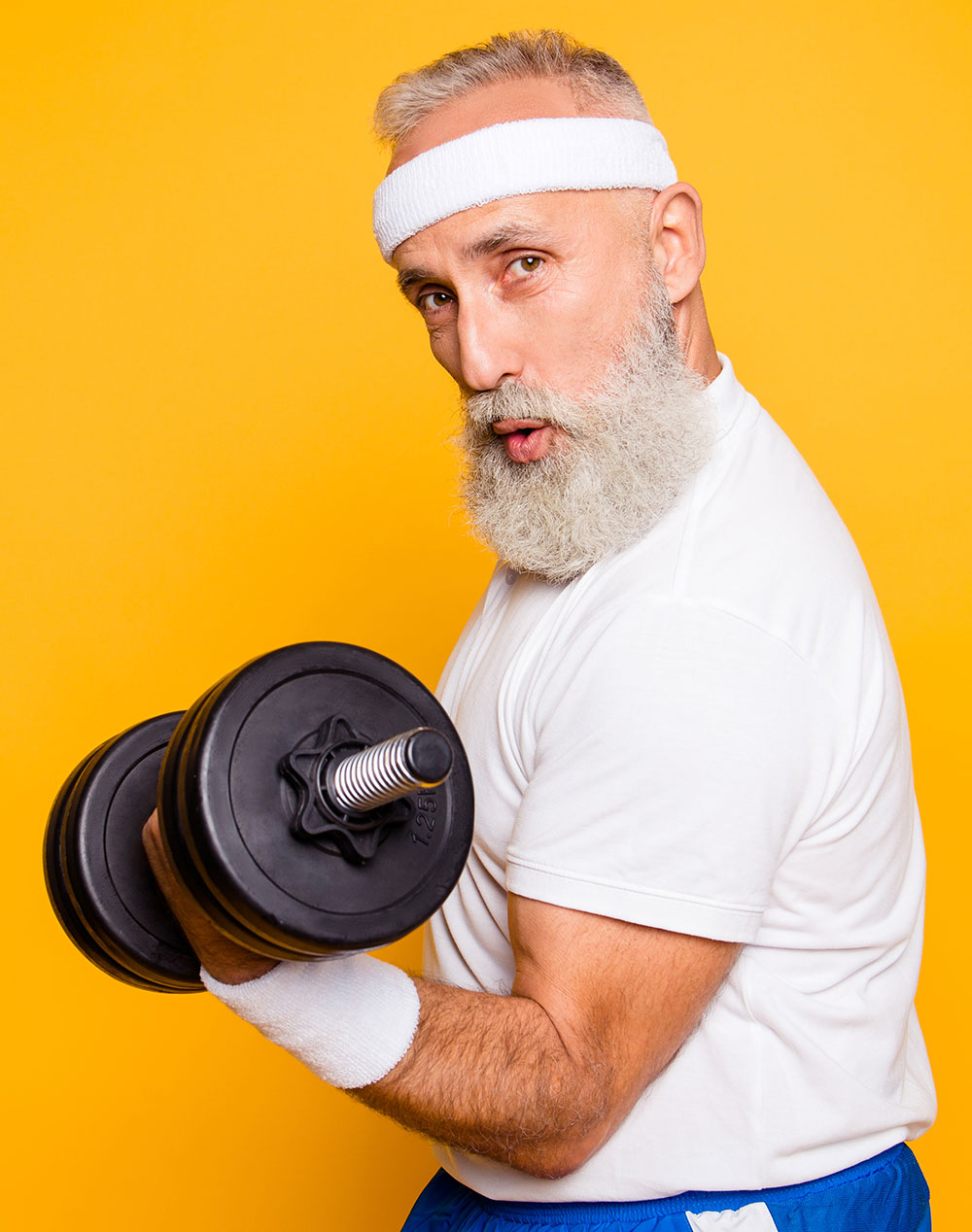 elderly man doing a dumbbell curl — healthcare marketing digital work
