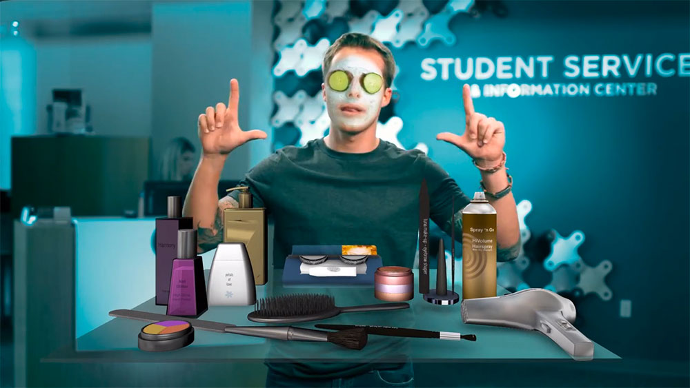 man standing in front of a countertop full of beauty supplies — higher education marketing video work