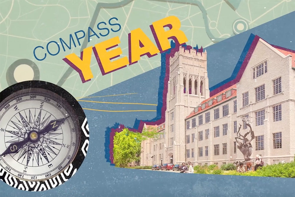 graphic of a compass and Mount Mary University building; compass year
