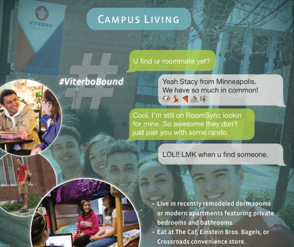 Screenshot of the Campus Living page from the Viterbo University viewbook — higher education marketing print work